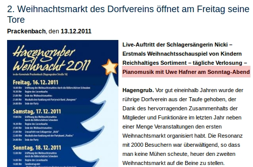 Weihnachtsmarkt, Prackenbach